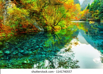 Beautiful view of the Five Flower Lake (Multicolored Lake) among colorful fall woods in Jiuzhaigou nature reserve (Jiuzhai Valley National Park), China. Autumn forest and mountains reflected in water.