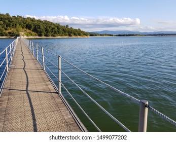 A beautiful view of the footbridge of Garaio natural park (Alava, Basque Country)