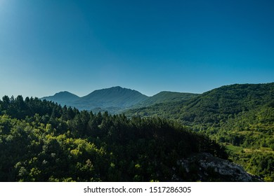 Beautiful view of the forest and Dry Mountain (Suva planina) in