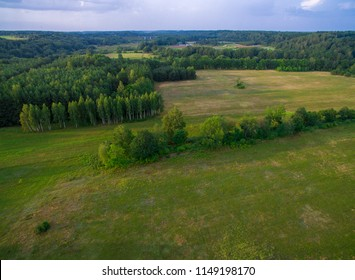 A beautiful view of the forest and fields from above. Drone photography