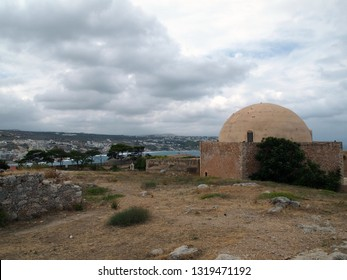 Beautiful view from the fortress of Fortezza in the Cretan city of Rethymnon. Cloudy summer day.