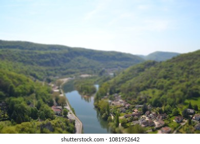 beautiful view of french's river Doubs in Besancon tilt shift
