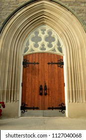 Beautiful view of the front entrance of a Church's main front door.