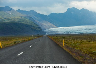 Beautiful view of to the front window in the car look at view glacier Skaftafell , Vatnajokull National Park at summer in Iceland