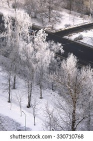 Beautiful view of frozen trees outside