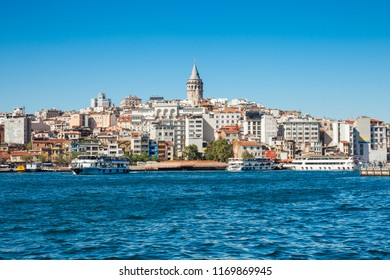 The beautiful view of the Galata Tower across the Golden Horn, Istanbul, Turkey