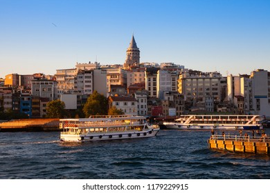 The beautiful view of the Galata Tower and Golden Horn at sunset, Istanbul, Turkey