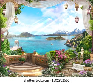 Beautiful view from the garden to the sea with a ship and the coast of Italy, a white gazebo, lanterns.   Digital collage, mural and mural. Wallpaper. Poster design. Modular panel. 3d render