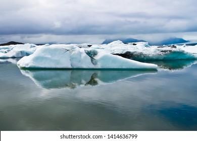 Beautiful view of Giant icebergs on jokulsarlon glacier lagoon iceland