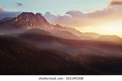beautiful view of the giewont peak in the Polish Tatra Mountains