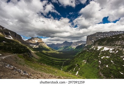 Beautiful view of Glacier National Park belong Going to the sun road, Black and White