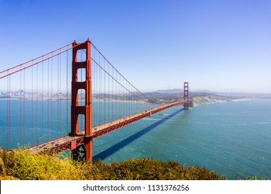 Beautiful view of Golden Gate Bridge on a sunny day with blue sky; California