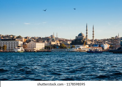 A beautiful view of the Golden Horn and the New Mosque at sunset, Istanbul, Turkey