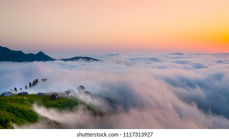 Beautiful view from Gomi Mountain resort, Georgia. Above the clouds