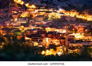 Beautiful view Goreme at night. Famous center of balloon fligths. Cappadocia, Turkey