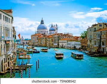 Beautiful view of Grand Canal and Basilica Santa Maria della Salute in Venice,Italy