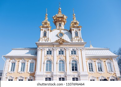 Beautiful view of Grand Palace at Peterhof Palace Saint petersburg Russia