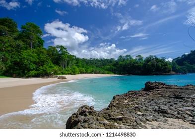 beautiful view of green bay beach (teluk hijau), Banyuwangi, east java, indonesia