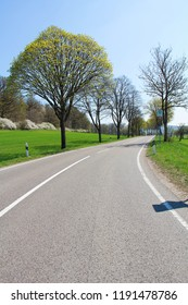 Beautiful view of green field with longer road At Germany.