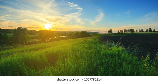 Beautiful view of green hills and fields at sunset