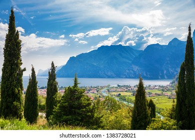 beautiful view of the green village Nago Torbole and Lake Garda, Italy
