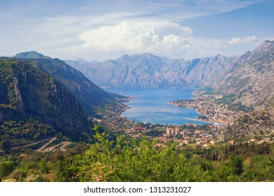 Beautiful view of Gulf of Kotor and Kotor city on sunny spring day. Montenegro