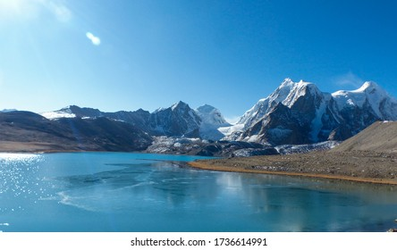 Beautiful view of Gurudongmar lake in North Sikkim, India. Snowy Himalayan mountain are seen in background.