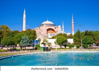 Beautiful view of  Hagia Sophia in Istanbul, Turkey