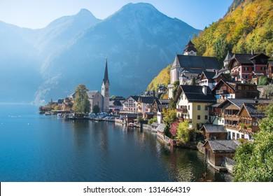 Beautiful view of Hallstatt, a Unesco World Heritage village, by the morning - Hallstatt, Austria