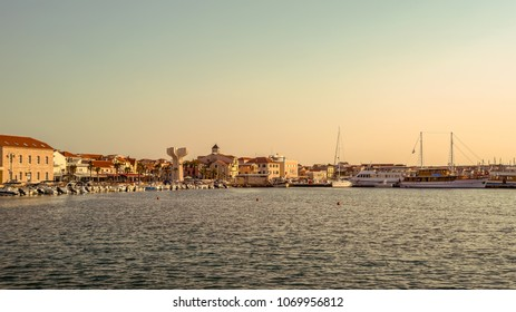 Beautiful view of the harbor and city center of Vodice on the sea coast of Croatia