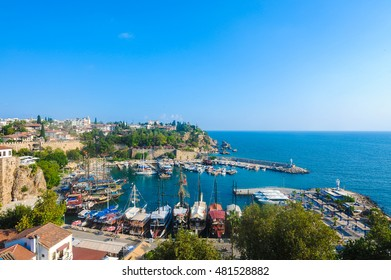 Beautiful view of the harbor, in Old City, Antalya, Turkey.