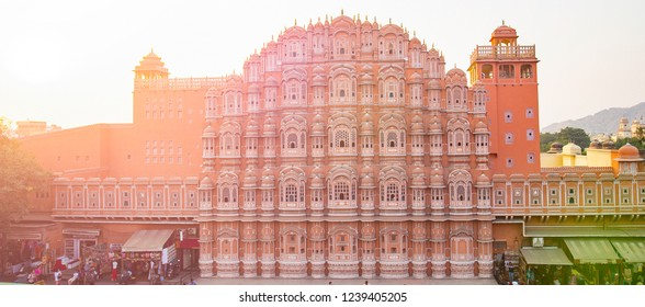 Beautiful view of the Hawa Mahal at sunset in Jaipur, India. The Hawa Mahal is a palace in Jaipur, India. It is constructed of red and pink sandstone.