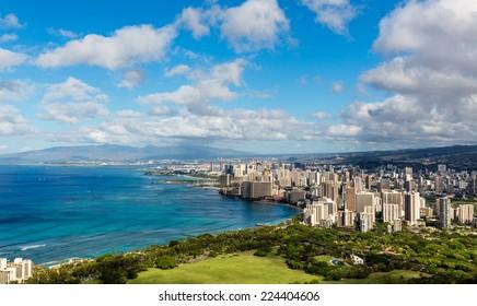 Beautiful view of Hawaii- Honolulu city skyline and beach coastline