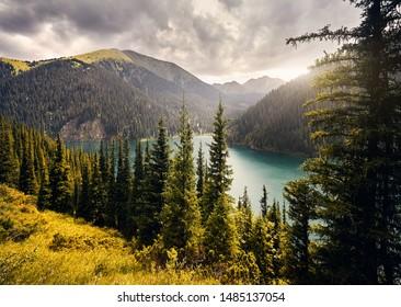 Beautiful view of high mountain lake Kolsai in Kazakhstan, Central Asia