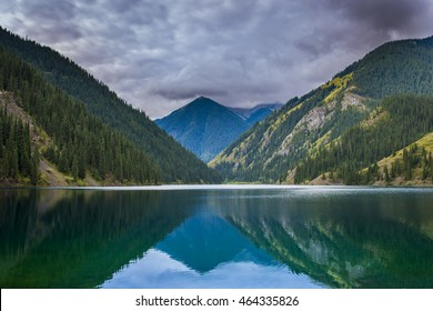 Beautiful view of high mountain lake Kolsai in Kazakhstan, Tien Shan mountains, Central Asia