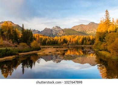 Beautiful view of High Tatras in Autumn panorama Slovakia