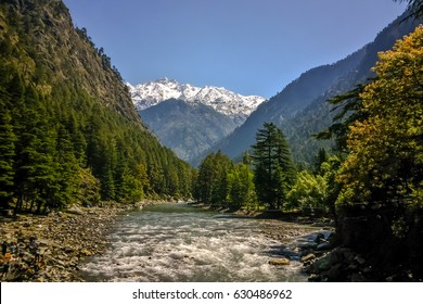 Beautiful view of Himalayan mountains, Kasol, Parvati valley, Himachal Pradesh, northern India