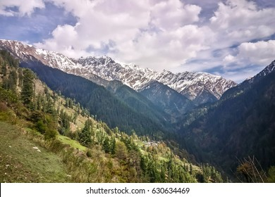 Beautiful view of Himalayan mountains on the trekking route to Grahan, Kasol, Parvati valley, Himachal Pradesh, northern India
