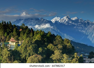 Beautiful view of Himalayan mountains at Ravangla, Sikkim. Himalaya is the great mountain range in Asia with more than 50 peaks, including mount Everest - at 29029 feet, the highest in the world.