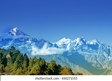 Beautiful view of Himalayan mountains at Ravangla, Sikkim. Himalaya is the great mountain range in Asia with more than 50 peaks , mostly highest, including mount Everest, the highest in the world.