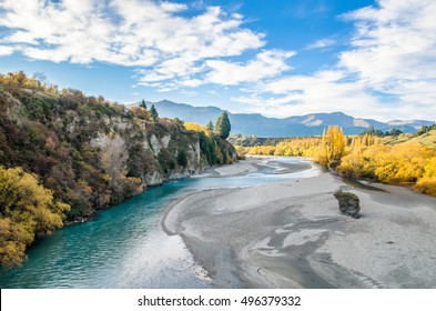 Beautiful view from the Historic Bridge over Shotover River in Arrowtown, New Zealand.