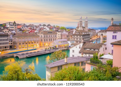 Beautiful view of historic city center of Zurich at sunset in Switzerland