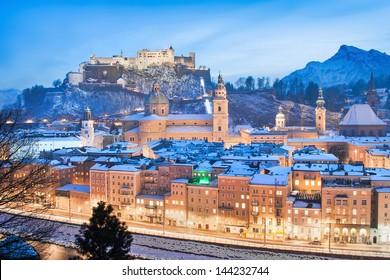 Beautiful view of the historic city of Salzburg with Festung Hohensalzburg in winter as seen from Kapuzinerberg, Salzburger Land, Austria
