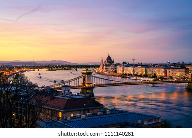 Beautiful view of historic part of Budapest and the Danube River after sunset