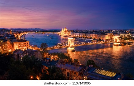 Beautiful view of historic part of Budapest and the Danube River at night