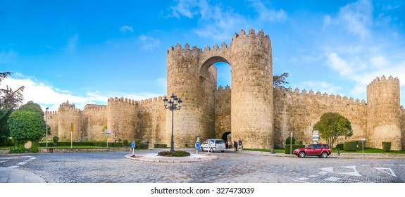 Beautiful view of the historic walls of Avila, Castilla y Leon, Spain