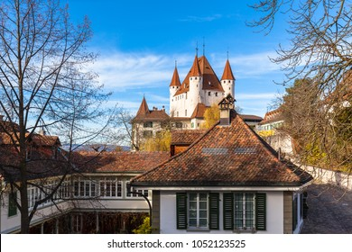 Beautiful view of the historical Thun castle in sunshine, Thun, Canton of Bern, Switzerland