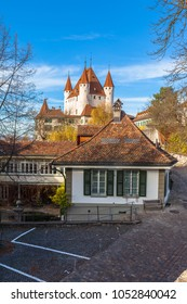 Beautiful view of the historical Thun castle in sunshine, Thun, Canton of Bern, SwitzerlandBeautiful view of the historical Thun castle in sunshine, Thun, Canton of Bern, Switzerland
