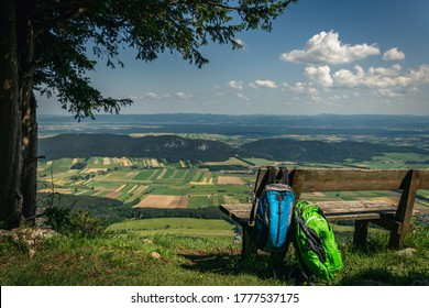 Beautiful view from Hohe Wand Plateau during backpacking trip on sunny day. Lower Austria, 13. June 2020.