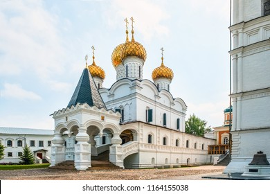Beautiful view of the Holy Trinity Ipatiev monastery in Russia in the city of Kostroma on the Volga